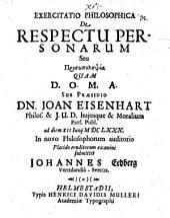 Exercitatio Philosophica De Respectu Personarum Seu Prosōpolēpsia