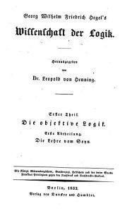Georg Wilhelm Friedrich Hegel's Werke: Bände 3-5