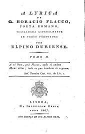 A Lyrica ¬de Q. Horacio Flacco, poeta Romano: Volume 2