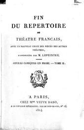 Fin du Répertoire du Théâtre Français: avec un nouveau choix des pièces des autres théâtres, Volume29