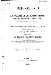 Ordenamiento formado por los procuradores de las aljamas hebreas: pertenecientes al territorio de los estados de Castilla, en la asamblea celebrada en Valladolid el año 1432