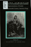 Representations of Gender on the Nineteenth century American Stage PDF