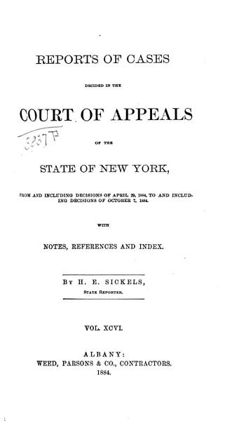 Download Reports of Cases Decided in the Court of Appeals of the State of New York Book