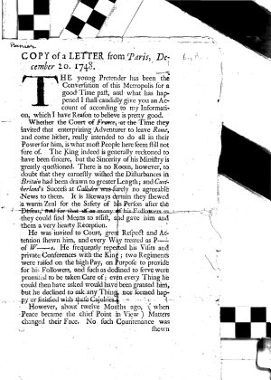 Copy of a Letter from Paris  December 20  1748