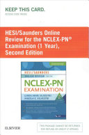 Hesi Saunders Online Review For The Nclex Pn Examination 1 Year Access Code Book PDF