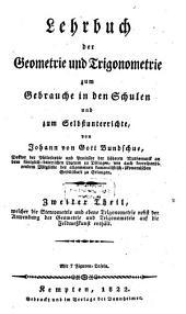 Lehrbuch der Geometrie und Trigonometrie zum Gebrauche in den Schulen und zum Selbstunterrichte: Stereometrie und ebene Trigonometrie, Band 2