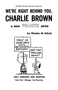 We re Right Behind You  Charlie Brown Book