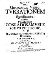 Diss. de Graecorum verbo, turbationem significante