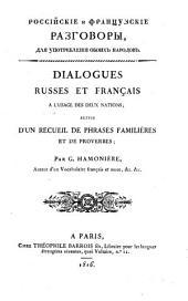 Dialogues russes et français à l'usage des deux nations