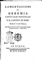 Lamentazioni di Geremia I Sette Salmi Penitenziali e il Cantico di Mose'