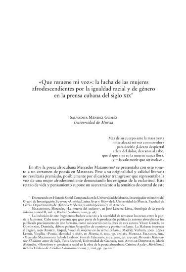 Que resuene mi voz    la lucha de las mujeres afrodescendientes por la igualdad racial y de g  nero en la prensa cubana del siglo XIX PDF