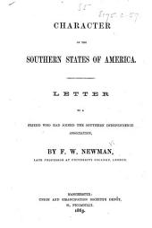 Character of the Southern States of America. Letter, etc