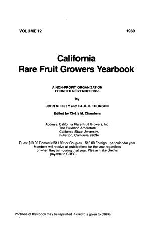 California Rare Fruit Growers Yearbook
