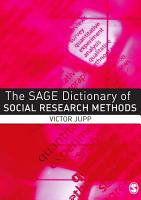 The SAGE Dictionary of Social Research Methods PDF