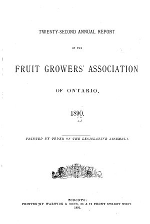 Annual Report of the Fruit Growers  Association of Ontario PDF