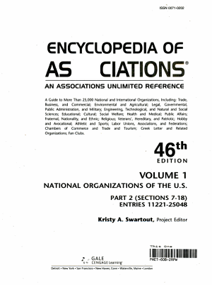 Encyclopedia of Associations V1 National Org 46 Pt2
