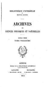 Archives des sciences physiques et naturelles: Volumes13à15