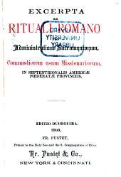 Excerpta ex rituali romano pro administratione sacramentorum, ad commodiorem usum missionariorum in septentrionalis Americae foederatae provinciis