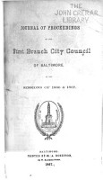 Journal of Proceedings of the First Branch City Council of Baltimore at the Sessions of     PDF