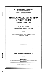 Propagation and Distribution of Food Fishes  Fiscal Year 1924 PDF