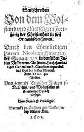 Sendschreiben von dem Wohlstand der Christenheit in den Orientalischen Indien 1600
