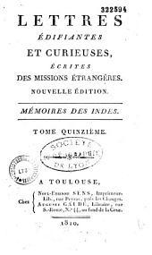 Lettres édifiantes et curieuses, écrites des missions étrangères: Nouvelle édition