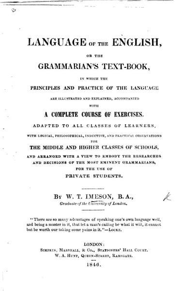 Download Language of the English  or  the Grammarian s Text Book      with a complete course of exercises Book