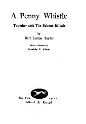A Penny Whistle: Together with the Babette Ballads