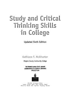 Study and Critical Thinking Skills in College PDF