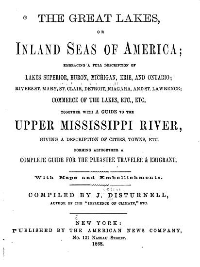 The Great Lakes  Or Inland Seas of America     PDF