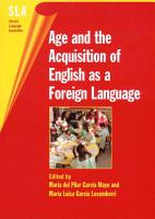 Age and the Acquisition of English as a Foreign Language PDF