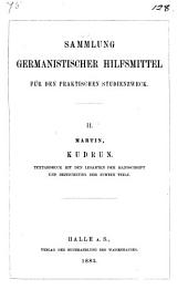 Kudrun, herausg. von E. Martin