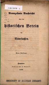 Nachricht über den Historischen Verein für Niedersachsen: Ausgabe 19