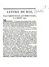 Lettre du roi, portée à l'Assemblée Nationale, par le Ministre de la justice, le 13 septembre 1791