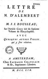 """Article """"Genève"""" de l'Encyclopédie ; profession de foi des ministres genevois, avec des notes d'un théologien, et réponse à la lettre de M. Rousseau,..."""