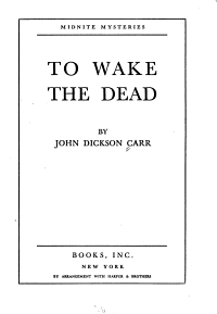To Wake the Dead Book