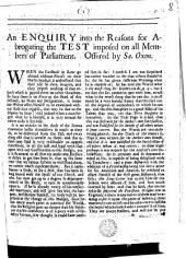 An enquiry [by G. Burnet] into the Reasons for abrogating the test imposed on all members of parliament. Offered by Sa. Oxon: Volume 8