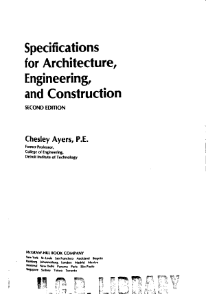 Specifications for Architecture  Engineering  and Construction PDF