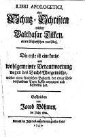 Libri Apologetici  oder Schutz Schriften wieder Balthasar Tilken  einen Schlesischen von Adel PDF