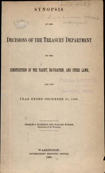 Treasury Decisions Under Customs and Other Laws PDF