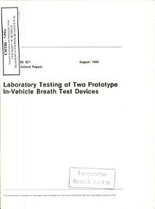 Laboratory Testing of Two Prototype In vehicle Breath Test Devices  Technical Report