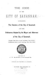 The Code of the City of Savannah