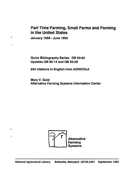 Part Time Farming  Small Farms and Farming in the United States PDF