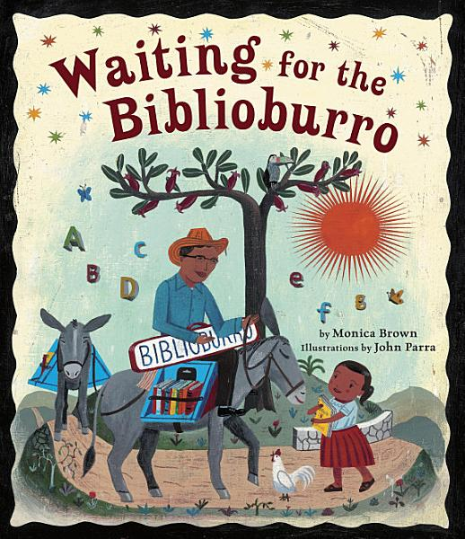 Book Cover man rides a donkey on dirt road, book shelves filled with books strapped to donkey, a little girl in a red skirt walks towards him carrying a book and smiling