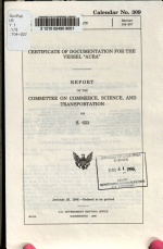 Certificate of Documentation for the Vessel