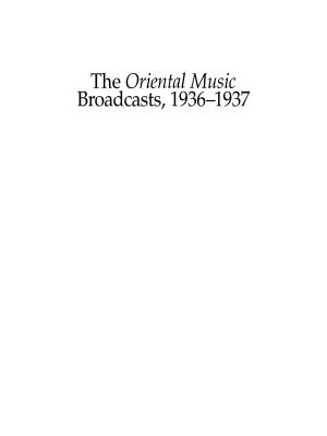 The Oriental Music Broadcasts  1936 1937