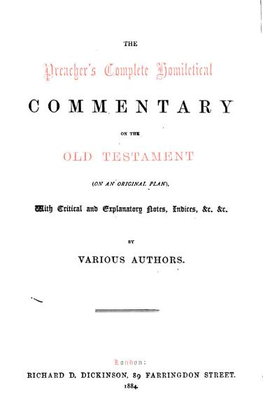 A Homiletical Commentary On The Prophecies Of Isaiah By R A Bertram And A Tucker
