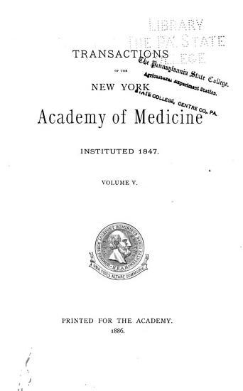 Transactions of the New York Academy of Medicine PDF