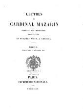 Lettres du cardinal Mazarin pendant son ministère: Volumes1à9