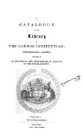 A Catalogue of the Library of the London Institution  The general library PDF